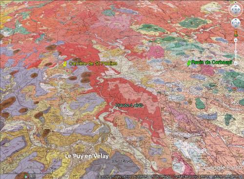 Localisation du ravin de Corboeuf dans le bassin de l'Emblavès et localisation de la carrière de Saint Paulien dans le bassin du Puy