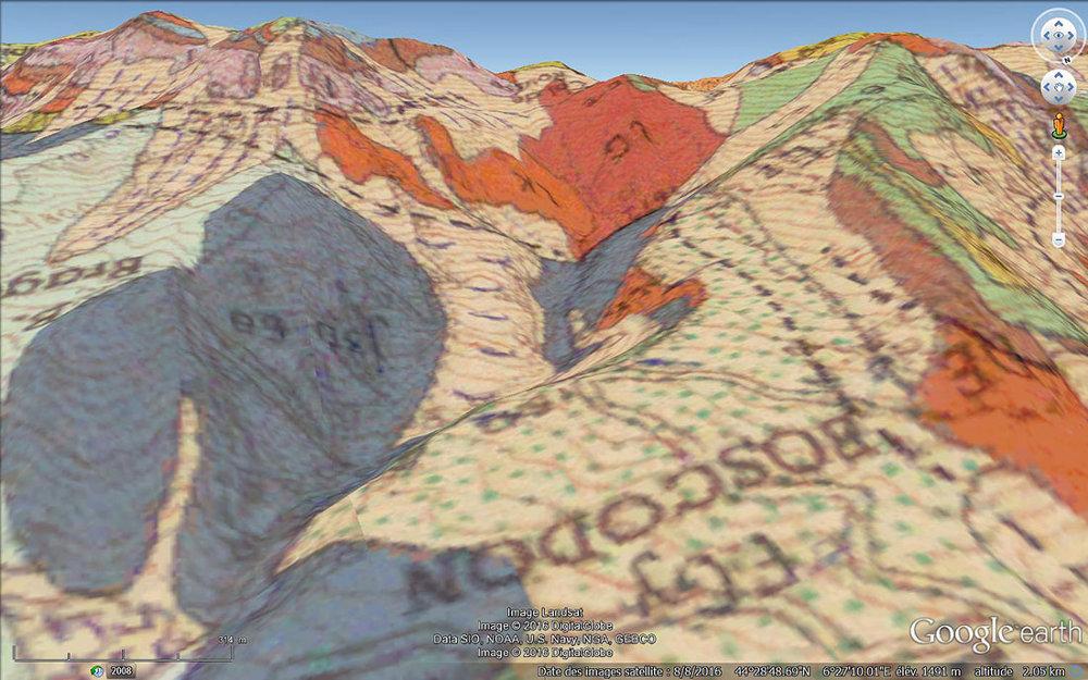 Vue avec carte géologique (Chorges, 1/50000) du cirque de Bragousse et du chenal d'écoulement qui s'en échappe
