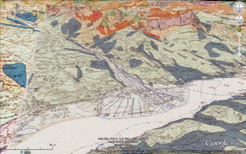 Vue avec carte géologique du système torrentiel Bragousse-Boscodon