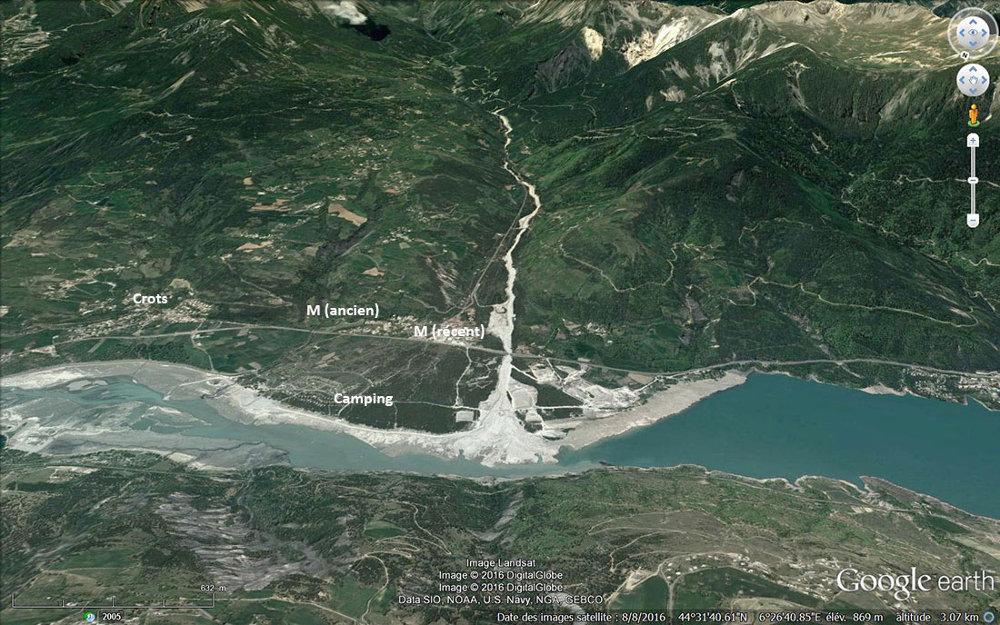 Vue aérienne annotée du cône de déjection des torrents Bragousse-Boscodon