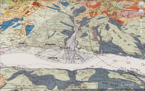 Vue avec carte géologique annotée du cône de déjection des torrents Bragousse-Boscodon