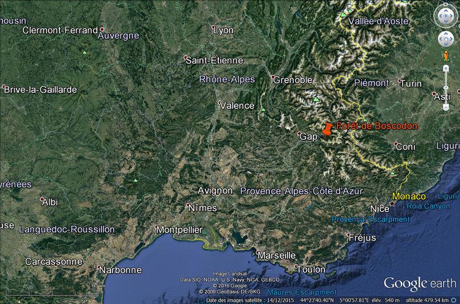 Localisation de la forêt de Boscodon et de son système torrentiel