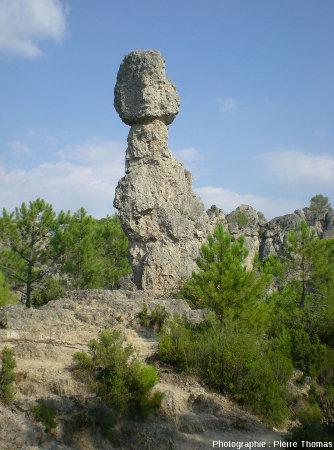 Autre vue du pinacle dolomitique de la figure 1, cirque de Mourèze, Hérault