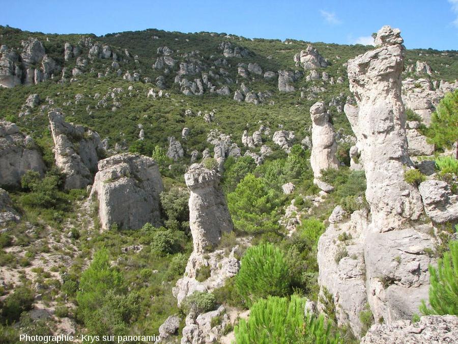 Relief ruiniforme à l'intérieur du cirque de Mourèze, Hérault