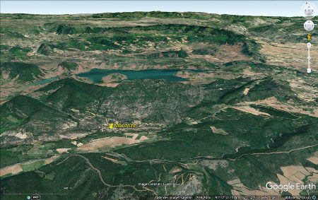 Vue aérienne de la région du cirque de Mourèze, Hérault