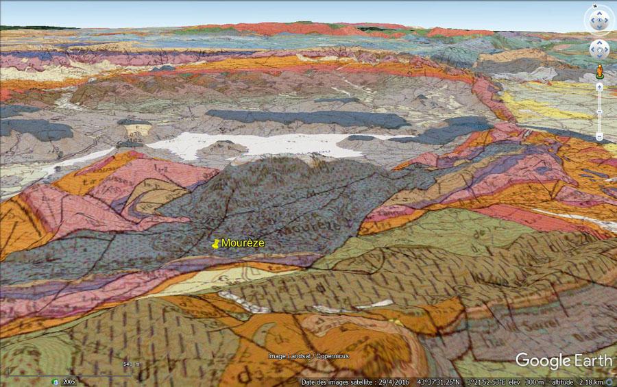 Vue aérienne et géologique de la région du cirque de Mourèze, Hérault
