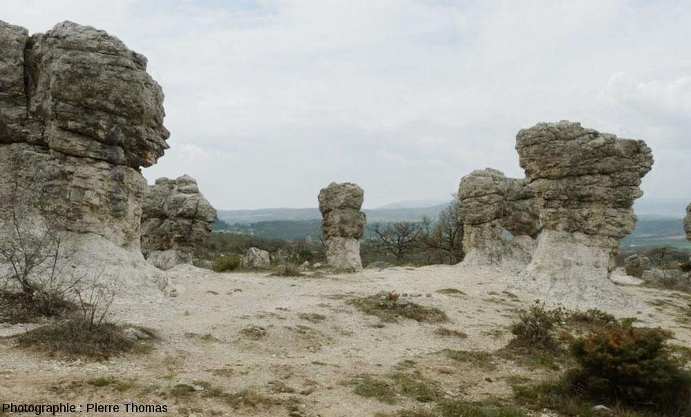 Rochers en forme de champignon dans le secteur des Mourres, Forcalquier (Alpes de Haute Provence)