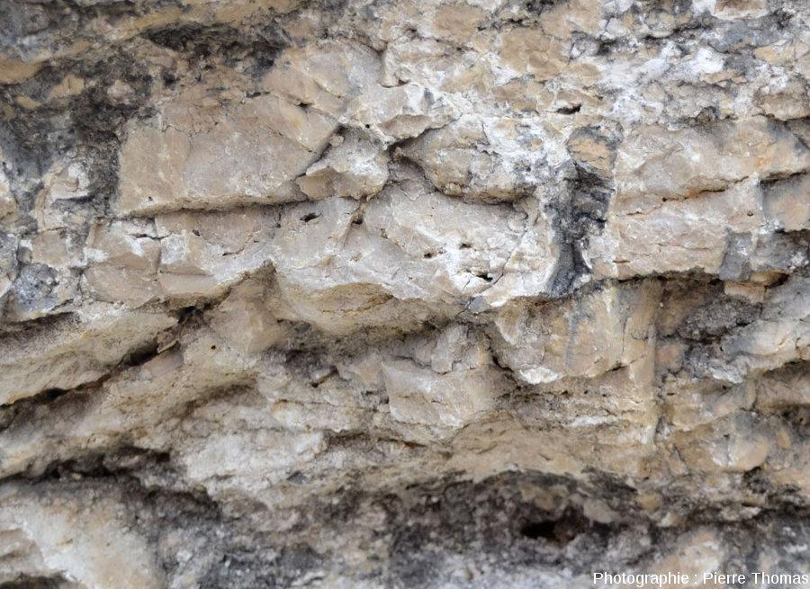 Zoom sur la base d'une masse calcaire chapeautant les rochers des Mourres