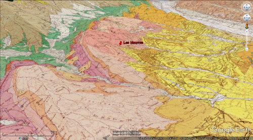 Vue 3D géologique du secteur des Mourres
