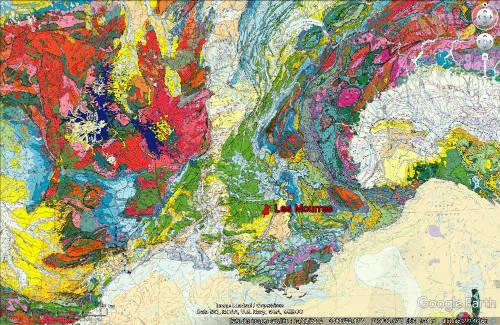 Localisation des Mourres sur la carte géologique de France au 1/1000000