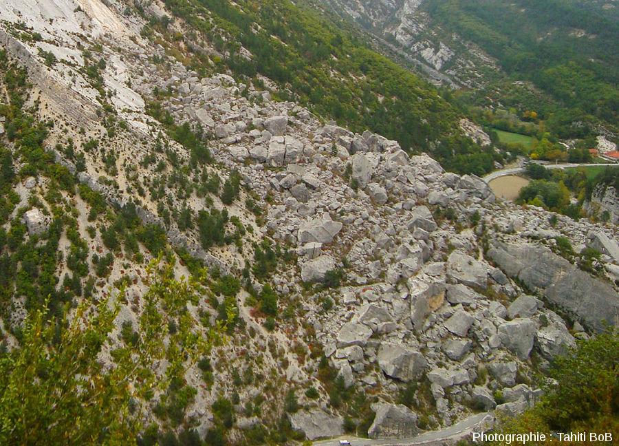 Détail de la masse des éboulis du Claps vue depuis la barre tithonique située sur la rive droite (à l'Ouest) de la Drôme