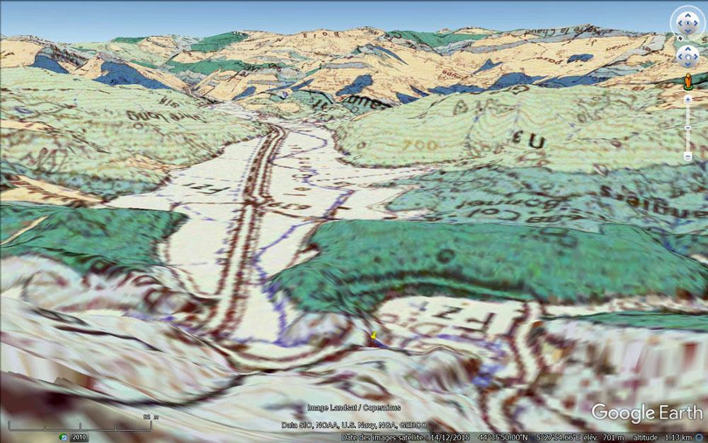 """Vue """"géologique"""" des deux anciens lacs ayant résulté de la formation du Claps (Drôme)"""