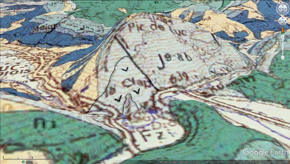 """Vue """"géologique"""" du Clpas centrée sur le Pic de Luc"""