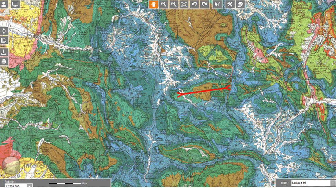 Extrait de la carte géologique au 1/250000 montrant la localisation et la direction du synclinal de Lesches-en-Diois