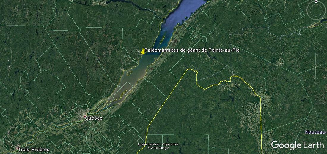 Localisation des paléomarmites de géant, au bord du Saint Laurent, Québec