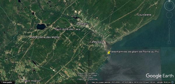 Position des paléomarmites de géant, à Pointe-au-Pic, Québec