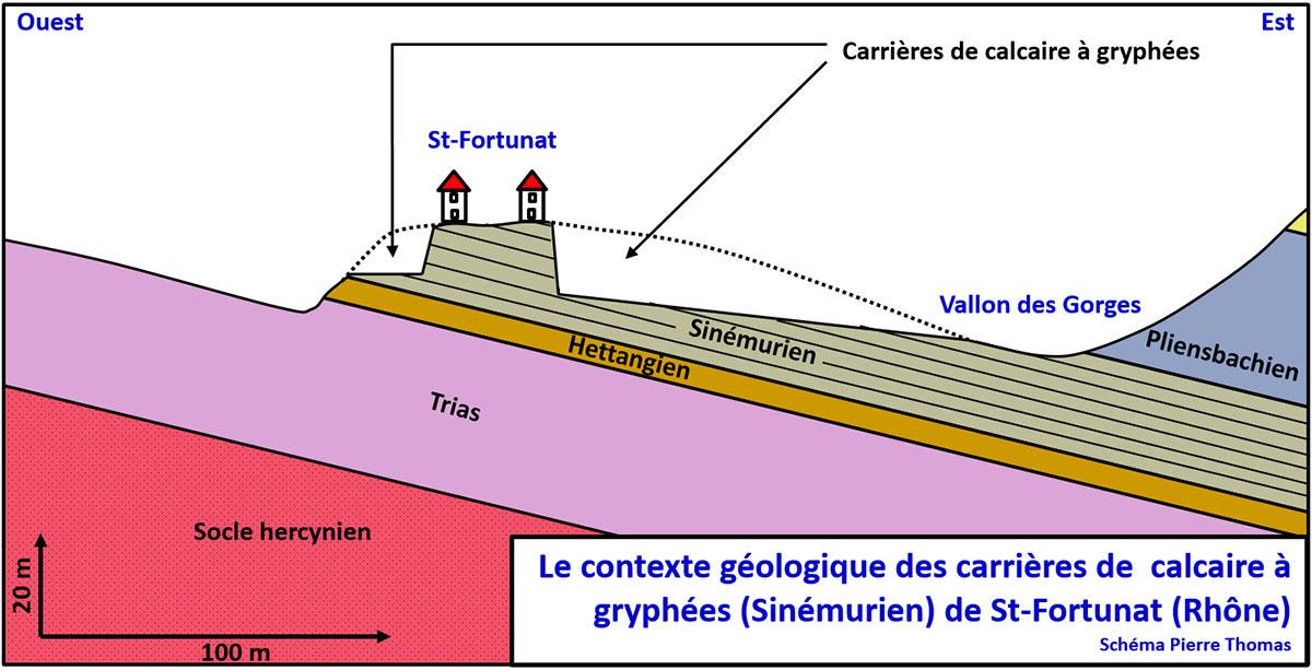 Représentation très schématique du contexte géologique et morphologique du hameau de Saint-Fortunat (commune de Saint-Didier au Mont-d'or)