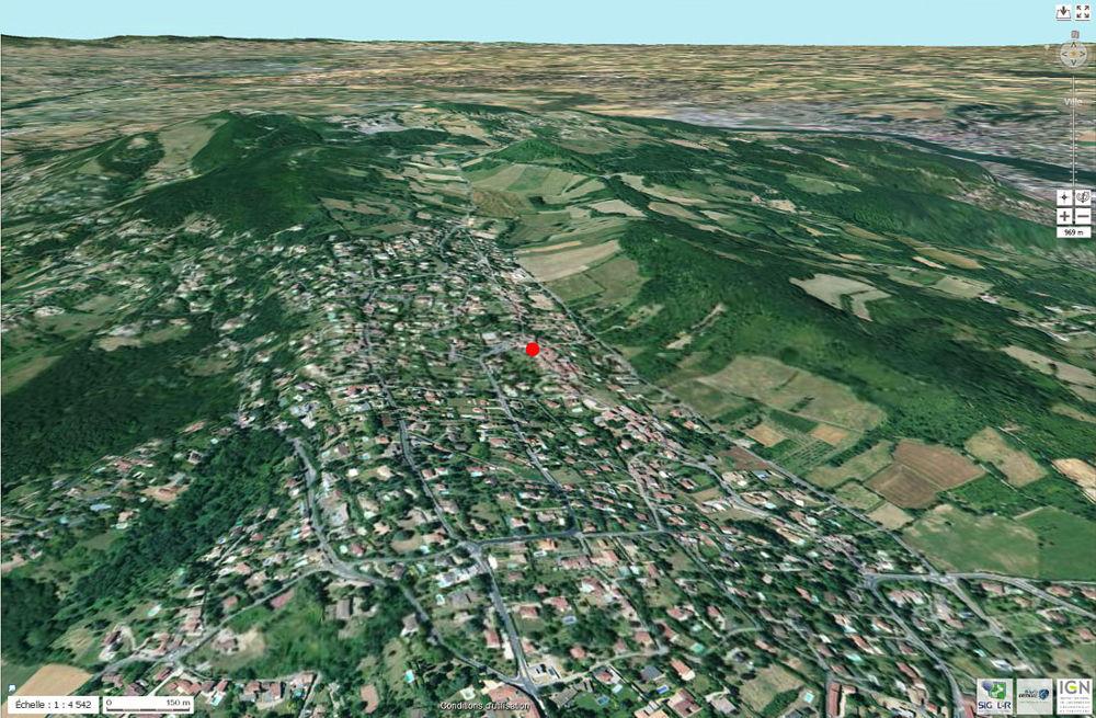 Photographie aérienne actuelle du secteur de Saint-Fortunat, commune de Saint-Didier-au-Mont-d'Or (Rhône)