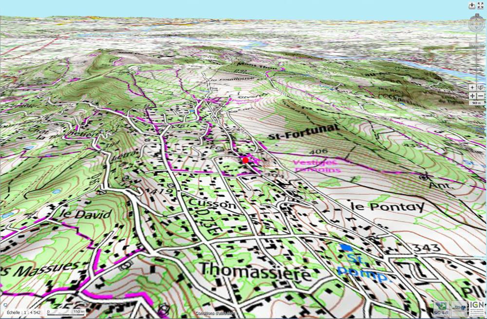 Carte topographique actuelle du secteur de Saint-Fortunat, commune de Saint-Didier-au-Mont-d'Or (Rhône)
