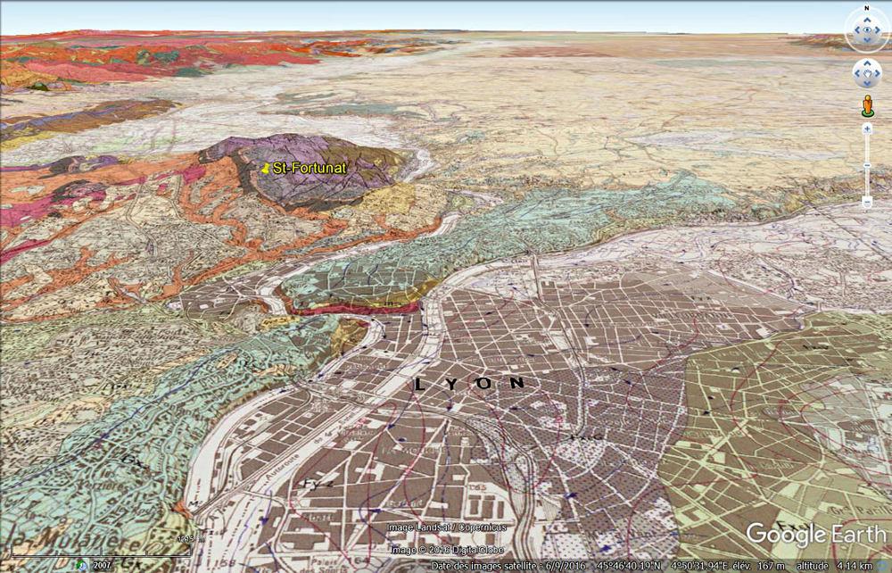 """Vue aérienne """"géologique"""" de Lyon et du Nord-Ouest de sa région"""
