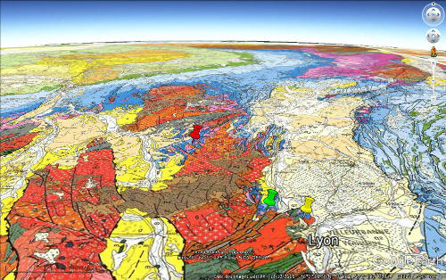 Localisation des Mont-d'Or Lyonnais (punaise jaune), du Sentier des Pierres Folles (punaise verte) et du Brionnais (punaise rouge) sur un extrait de la carte géologique de France au 1/1000000