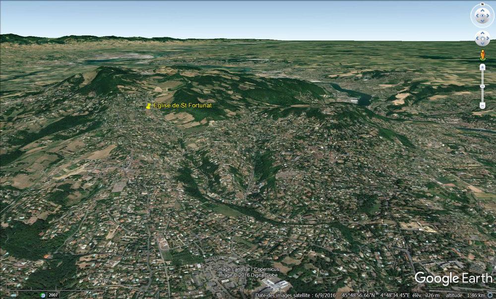 Localisation de la chapelle de Saint-Fortunat au sein des Mont-d'Or lyonnais, juste sur la couche de Sinémurien
