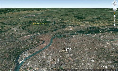 Localisation des Mont-d'Or lyonnais et de Saint-Fortunat au Nord-Ouest de l'agglomération lyonnaise
