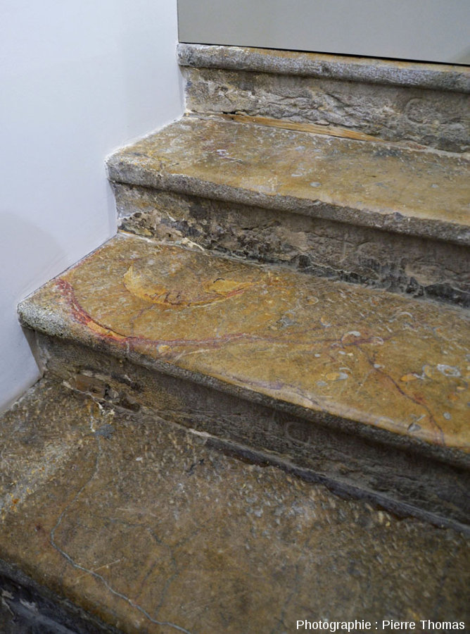 Escalier intérieur d'une maison lyonnaise, escalier fait en dalle de Sinémurien des Mont-d'Or lyonnais