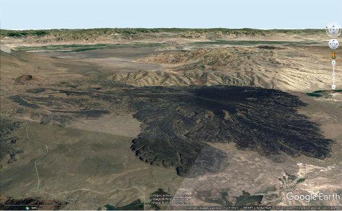 Coulée de lave s'étalant sur le versant Sud du Grand Ararat