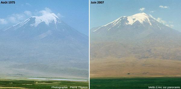 Le versant Ouest du Grand Ararat photographié en août 1975 (à gauche) et en juin 2007 (à droite) depuis la Turquie