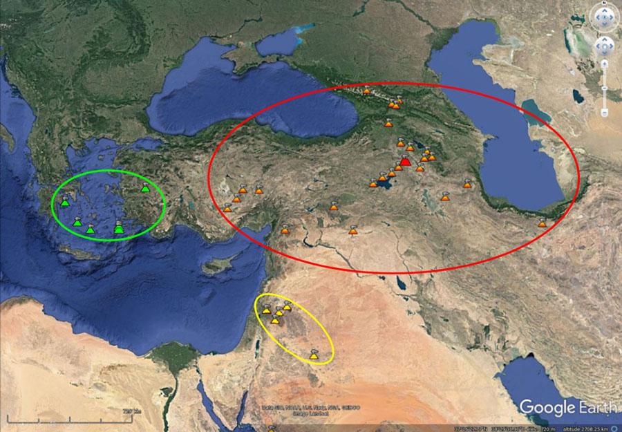 """Les volcans actifs durant l'Holocène dans l'Est de la Méditerranée et au Moyen-Orient d'après la rubrique """"Galerie"""" de Google Earth"""