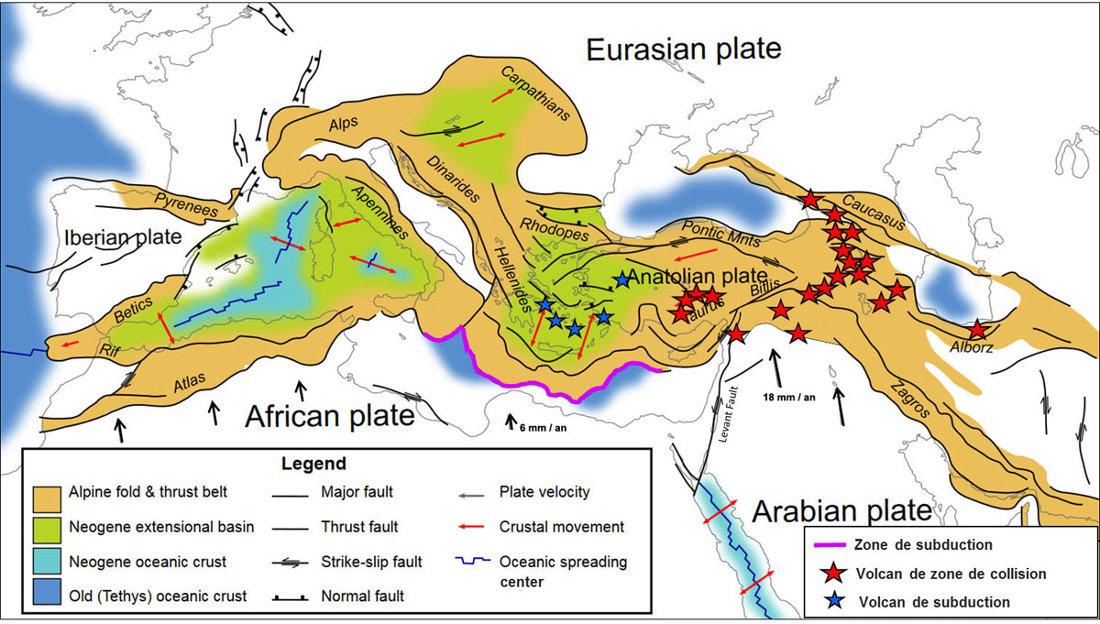 Positions des volcans moyen-orientaux (étoiles rouges) et égéens (étoile bleues) surajoutées à une carte du très complexe contexte géodynamique et des limites de plaques (plaques majeures et micro-plaques) dans tout le domaine méditerranéen et moyen-oriental