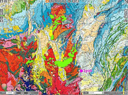 Extrait de la carte géologique de France au 1/1000000, centré sur le NO du Massif Central, une des régions hercyniennes françaises où le volcanisme hercynien est le plus abondant