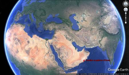 Localisation des affleurements de granite et de gabbro dans le Dhofar, Sultanat d'Oman