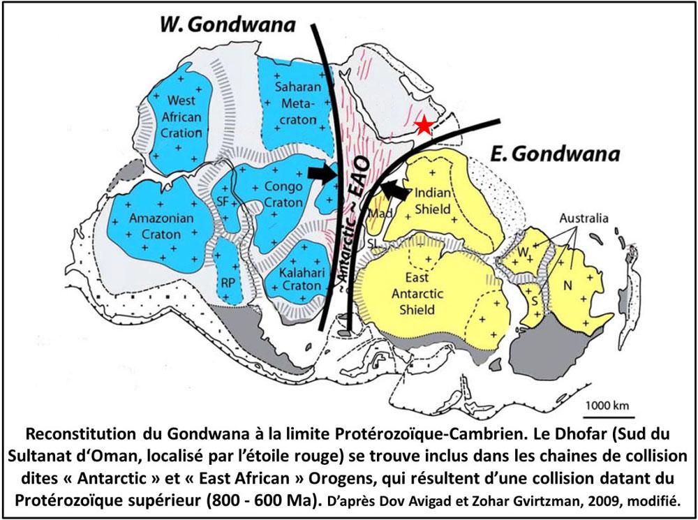 Schéma du Gondwana Sud à la fin des orogénèses panafricaines