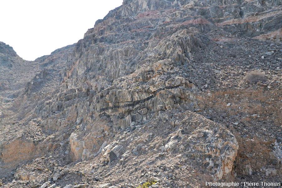 Vue d'ensemble d'une partie de la falaise au-dessus de la route n°49, Oman
