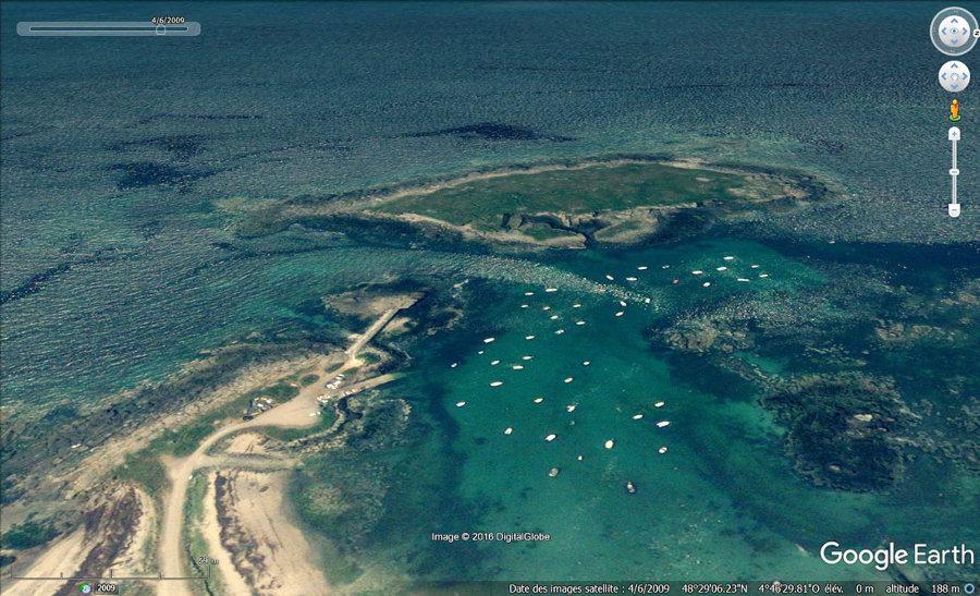Vue aérienne de l'ile Melon (Finistère)