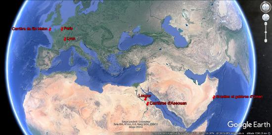 Localisation des granites tardi-panafricains d'Oman et d'Assouan, du granite tardi-hercynien de l'ile Melon, de Lyon et de Paris