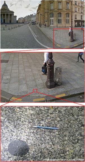Série de zooms sur la place du Panthéon et la rue Soufflot (Paris, 5ème) pour rappeler que les pavés, bordures et dalles de trottoirs montrant des roches acides (granites) et contenant des enclaves basiques (gabbros, diorites…) sont très fréquents dans nos villes