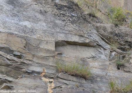 Zoom sur la base d'une grosse lentille conglomératique inter-stratifiée dans (et recoupant) des bancs de grès présentant eux même des stratifications obliques et des chenaux se recoupant les uns les autres