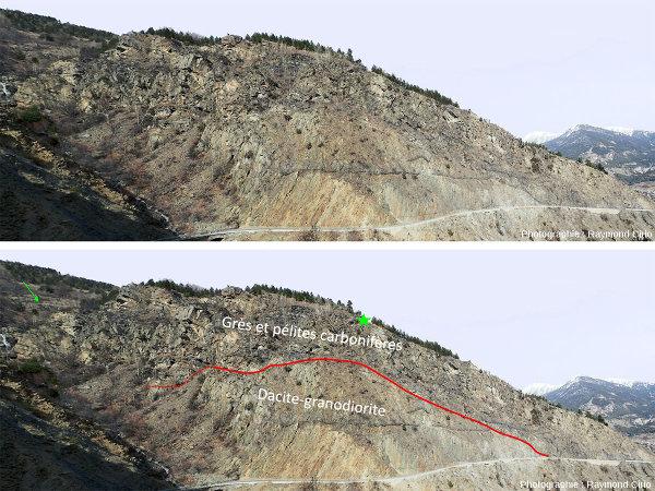 Photographie (brute et interprétée) prise depuis la D135 montrant un sill dans des sédiments carbonifères