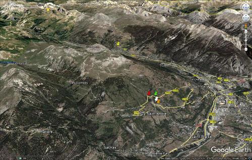 Vue aérienne des environs Nord-Ouest et Sud-Ouest de Briançon