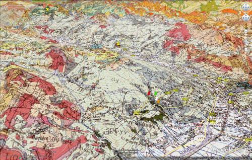 Vue aérienne géologique des environs Nord-Ouest et Sud-Ouest de Briançon