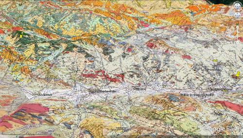 Carte géologique de la rive droite de la Guisane, torrent qui prend sa source au col du Lautaret et qui se jette dans laDurance à Briançon