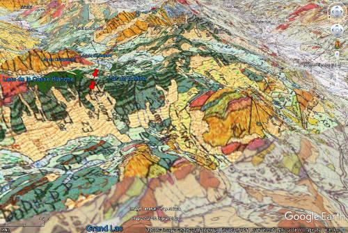 Carte géologique du secteur du Col du Chardonnet
