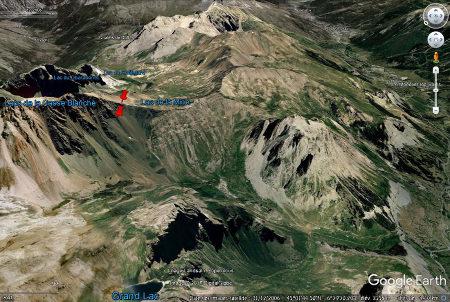 Vue aérienne du secteur du col du Chardonnet, avec les mêmes échelles et projection que la figure précédente