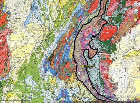 Localisation de Briançon (punaise jaune) et du Briançonnais au sens géologique du terme (entouré de noir) sur la carte géologique de la France au 1/1000000