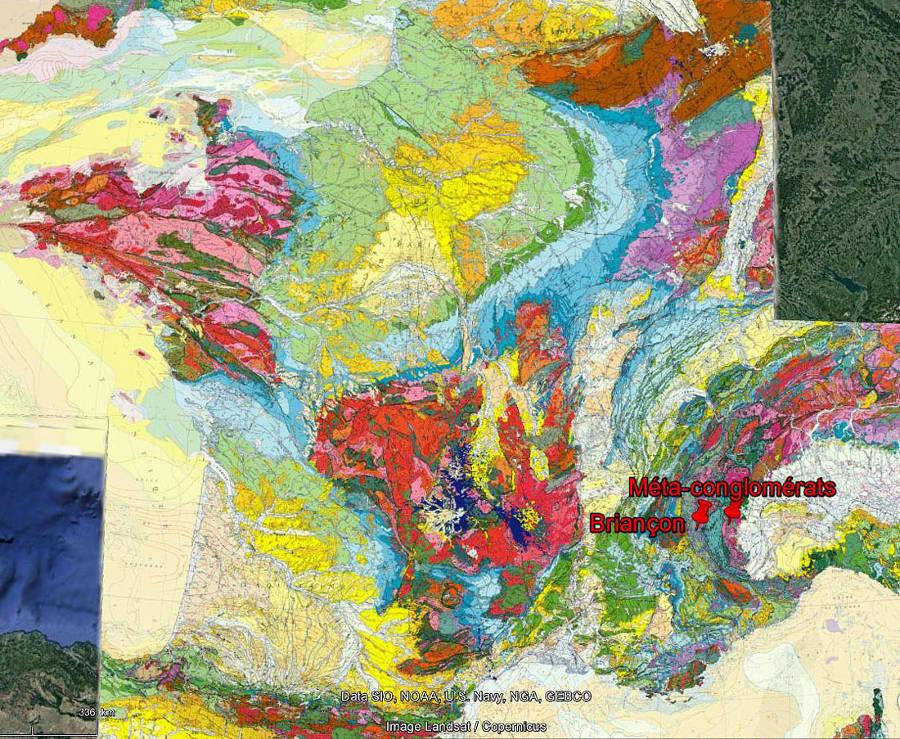 Localisation des méta-conglomérats de Perosa Argentina sur fond de carte géologique de la France au 1/1000000