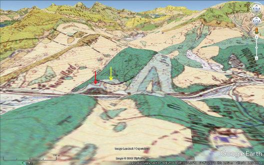 Vue aérienne géologique des anticlinaux de Saint-Julien-en-Beauchêne, en direction de l'Est