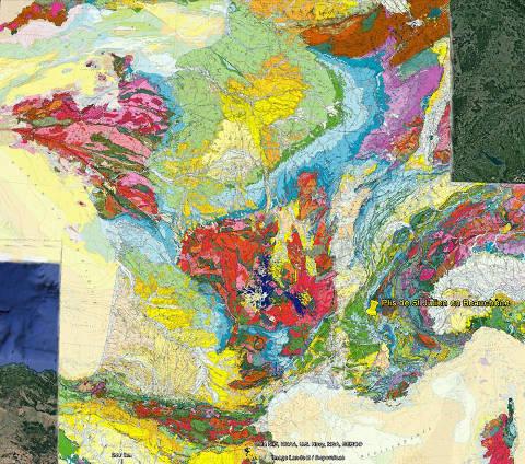 Localisation des plis de Saint-Julien-en-Beauchêne (Hautes Alpes) sur la carte géologique de la France au millionième